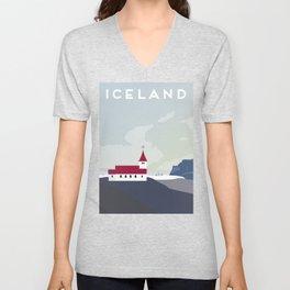 Iceland Vik Church Travel Poster Unisex V-Neck