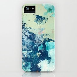 Letting Go: an abstract mixed-media piece in blues and greens by Alyssa Hamilton Art iPhone Case