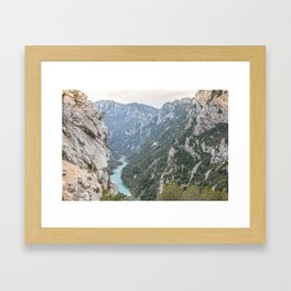 Blue river through the French mountains Framed Art Print