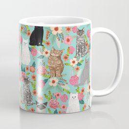 Cats floral mixed breed cat art cute gifts for cat ladies cat lovers pet art Coffee Mug