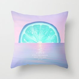 When life gives you lemons - Surreal Lemon Collage Sunset Throw Pillow