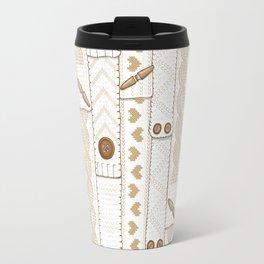Scarves Knitted Buttoned - Beige Travel Mug