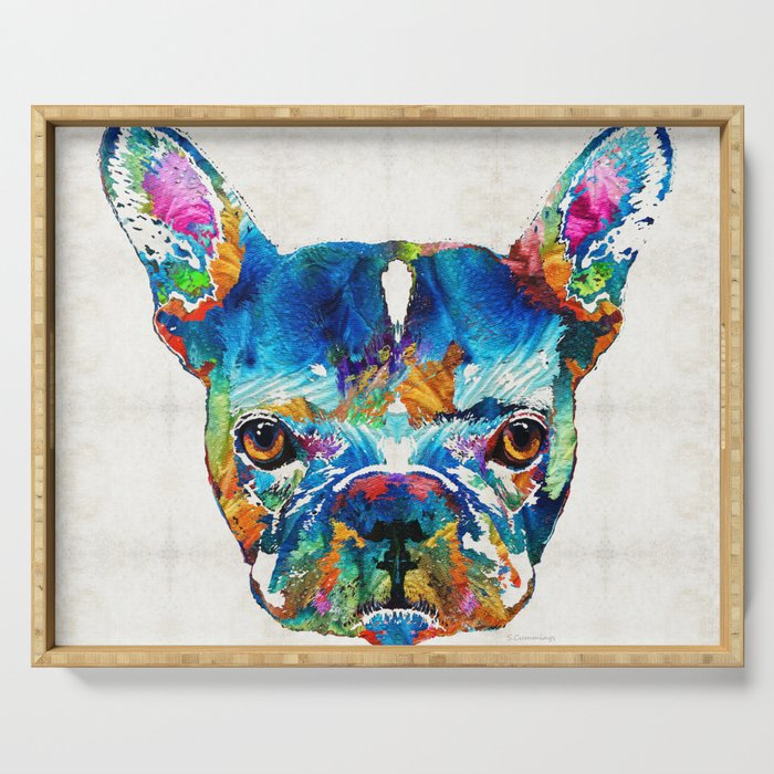 Colorful French Bulldog Dog Art By Sharon Cummings Serving Tray