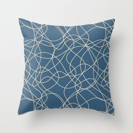 Beige Scribbled Lines Abstract Hand Drawn Mosaic on Blue - 2020 Color Of The Year Chinese Porcelain Throw Pillow