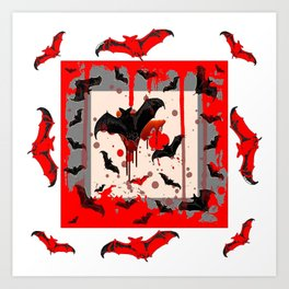 FREAKING HALLOWEEN BLOODY BAT PARTY Art Print