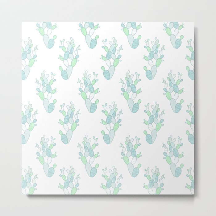 Little Succulent Pattern - Green on White Metal Print