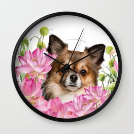 Chihuahua Dog in Lotus Buddha Flower Field Wall Clock