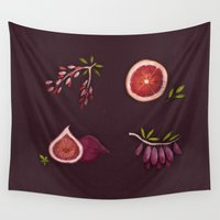 fruits Wall Tapestries featuring Fruits by Oilikki