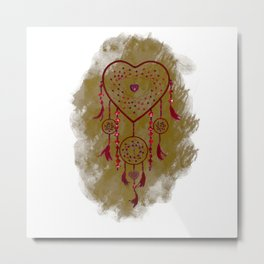 Heart Dreamcatcher: Sand background Metal Print
