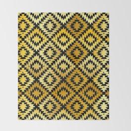 Turkish carpet gold black. Patchwork mosaic oriental kilim rug Throw Blanket