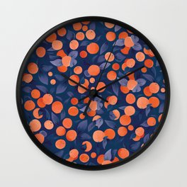 Midnight Oranges | Blue Wall Clock
