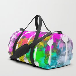 fork and spoon pattern with colorful painting abstract background Duffle Bag