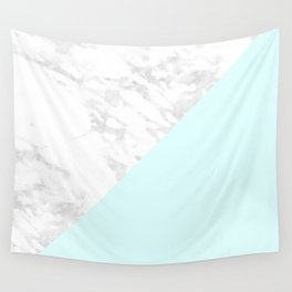 White Marble with Pastel Blue and Grey Wall Tapestry