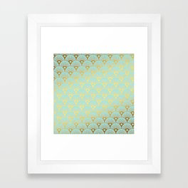 Art Deco Mermaid Scales Pattern on aqua turquoise with Gold foil effect Framed Art Print