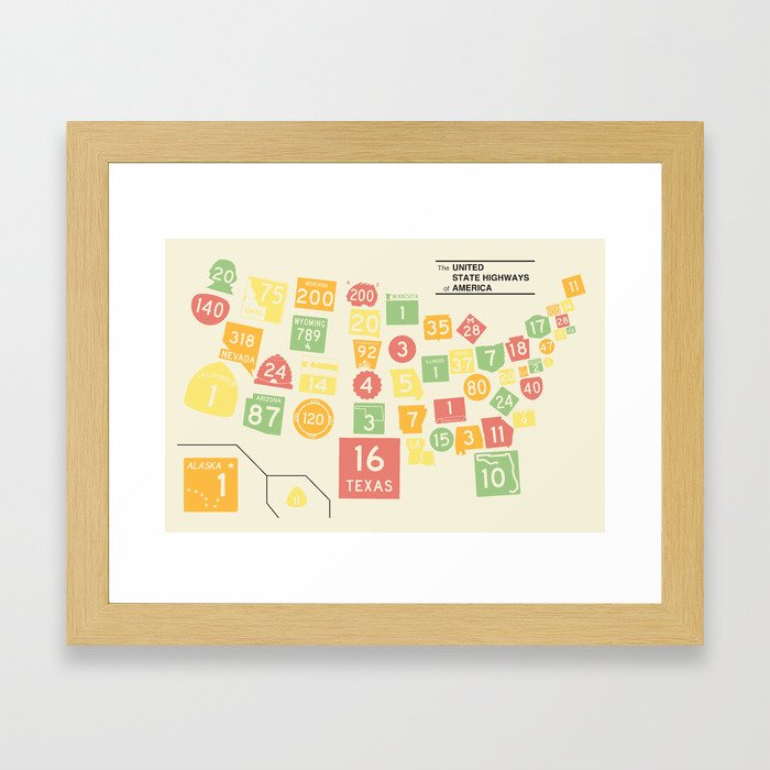 United State Highways of America - Classic Map Colors Framed Art Print