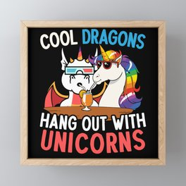 Cool Dragons Hang Out With Unicorns Mythical Framed Mini Art Print