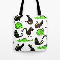 dinosaurs Tote Bags featuring dinosaurs by Lara Paulussen