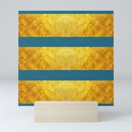 FARAOH'S MASK - GOLD & SAXONY BLUE  Mini Art Print