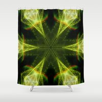 Neon Green Kaleidoscope Shower Curtain