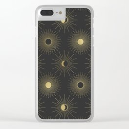 Moon and Sun Theme Clear iPhone Case