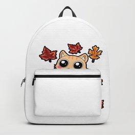 A Cat Dancing in brown Leaves Corgi Autumn Fall Backpack