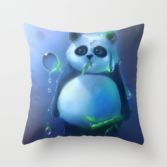 aqua panda Throw Pillow