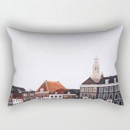 Iconic 'skyline' of Haarlem in winter | Haarlem historical city, the Netherlands | Urban travel photography Rectangular Pillow