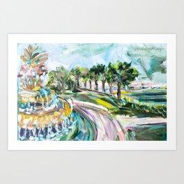 Charleston Pineapple Fountain Art Print