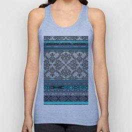 Teal, Aqua & Grey Vintage Bohemian Wallpaper Stripes Unisex Tank Top