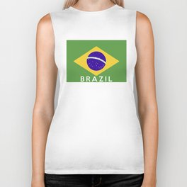 Brazil country flag name text Biker Tank