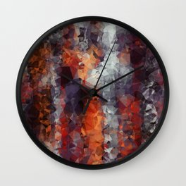 psychedelic geometric polygon shape pattern abstract in orange brown red black Wall Clock
