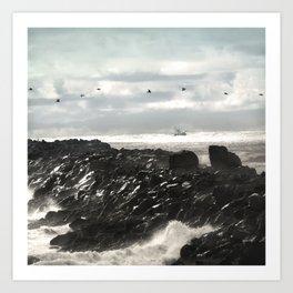 Pelicans Ocean Fishing Oregon Coast Landscape Art Print