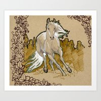 mucha Art Prints featuring  Mucha Horse by emilyszalay