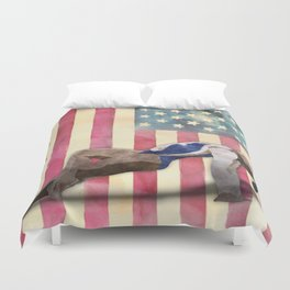 All American Gymnast Watercolor Duvet Cover