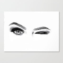 Winking Woman Canvas Print