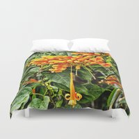 trumpet Duvet Covers featuring Spectacular orange trumpet flower by Wendy Townrow
