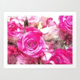 Bunch of Pink roses (watercolour) Art Print