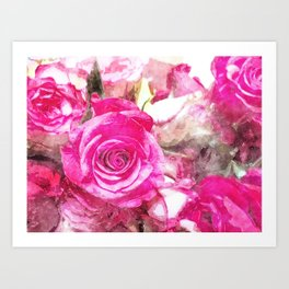 Bunch of Pink roses (watercolour) Art Print