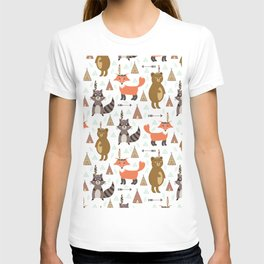 Bohemian orange brown forest animal arrows tribal pattern T-shirt