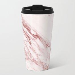 Pink Marble Pattern - Pink Marble Swirl Texture Metal Travel Mug