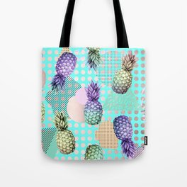 Pineapple Summer Rainbow Rose Gold Tote Bag