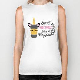 unicorn, coffee, unicorn gift, unicorn t-shirt, unicorn mug Biker Tank