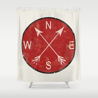 compass Shower Curtains featuring Compass by Duke Dastardly