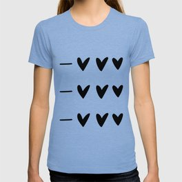 White and black doodle hearts and dashes pattern T-shirt