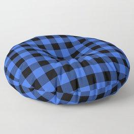 Royal Blue and Black Lumberjack Buffalo Plaid Fabric Floor Pillow