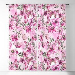 Pink Butterfly Floral Pattern Blackout Curtain