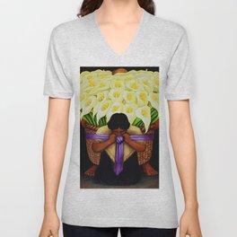 El Vendedor de Alcatraces (Lily Flower Seller with purple sash) by Diego Rivera Unisex V-Neck