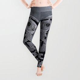 Happiness Mandala Metallic Platinum Grey Leggings