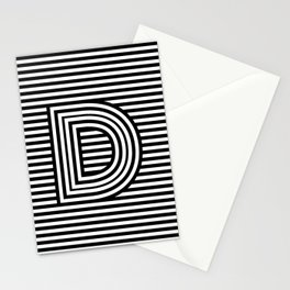 Track - Letter D - Black and White Stationery Cards