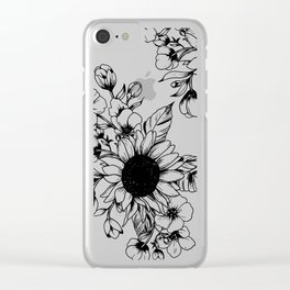 Bouquet of Flowers with Sunflower / Fall floral lineart Clear iPhone Case